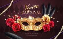Mardi Gras Carnival Banner With Mask And Rose Flower, Feather, Beads Or Chaplet. Masquerade Costume Part On Venice Festival Banner. Colombina Mask With Lace. Venetian Festive Flyer, Party Poster