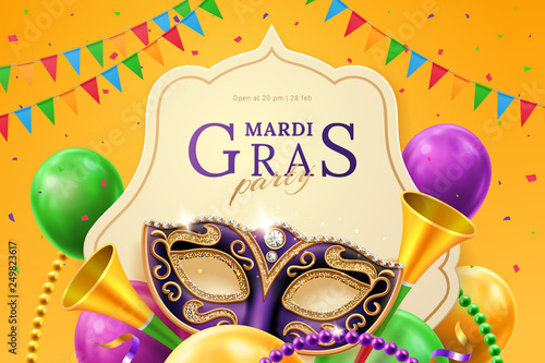 Fototapeta Purple mask with diamonds for carnival at mardi gras invitation flyer