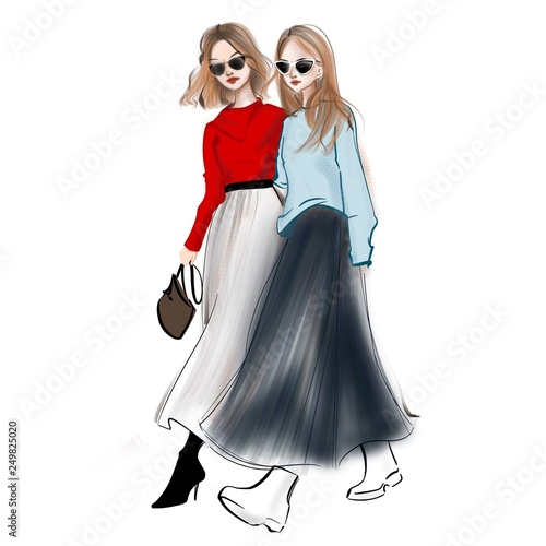 stylish girls walking together in red and blue sweater Wall mural