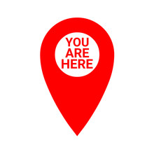 Red Map Pointer With The Text You Are Here