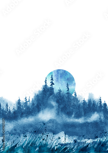 Foto auf Gartenposter Blau Jeans Watercolor group of trees - blue fir, pine, cedar, fir-tree. Forest on the slope, cliff, grief. Blue forest, landscape, fog forest landscape, slope, mountain. Full moon, eclipse. Isolated drawing