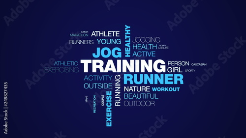 0762830072df5 training runner jog healthy jogger lifestyle fit fitness sport exercise  female animated word cloud background in