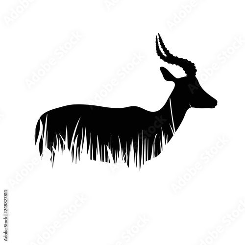 Illustration of antelope icon in the grass Wallpaper Mural