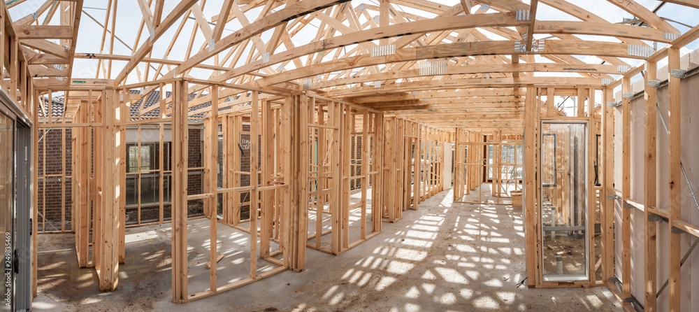 Fototapety, obrazy: Panoramic interior view of a  wooden timber frame from a new house under construction