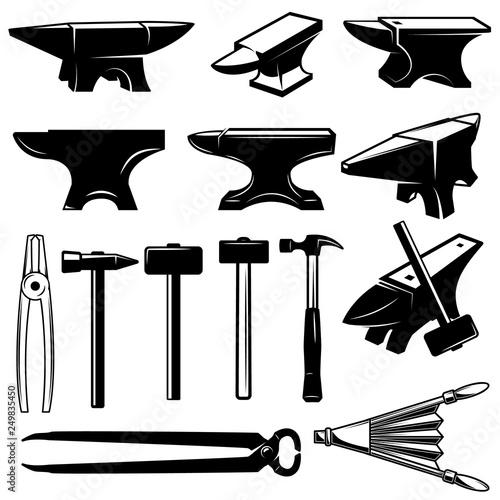 Photo Set of blacksmith design elements