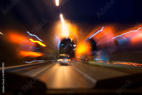Fotografija  Long exposure road photo at night.