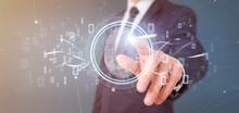 Businessman Holding A Digital Fingerprint Identification And Binary Code 3d Rendering