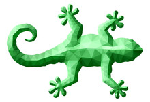 Low Poly Art With Green Gecko Silhouette