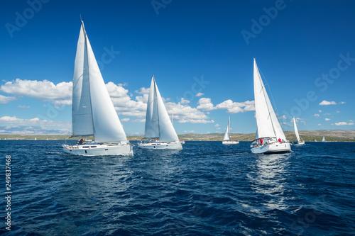 Obraz na plátně Sailing yachts regatta competition