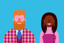 Elegant Interracial Smiling Couple Bearded Man Black Woman Isolated On Blue Background