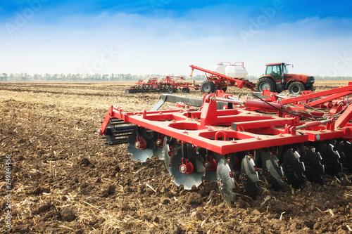 Obraz na plátně Agricultural plow close-up on the ground