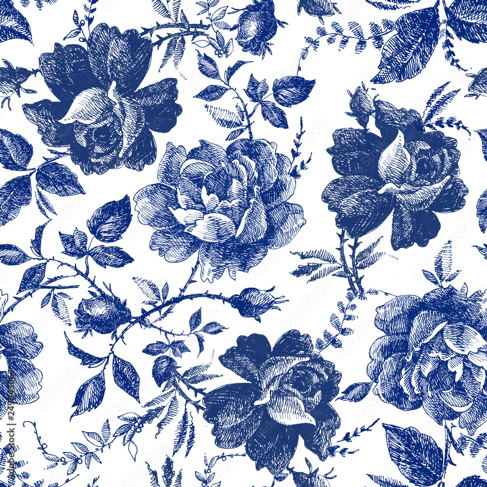 Fototapety, obrazy: seamless design with roses flowers. Fairytale forest. hand drawn vintage botanical pattern line graphics. fashion textile design Indigo color. floral illustration