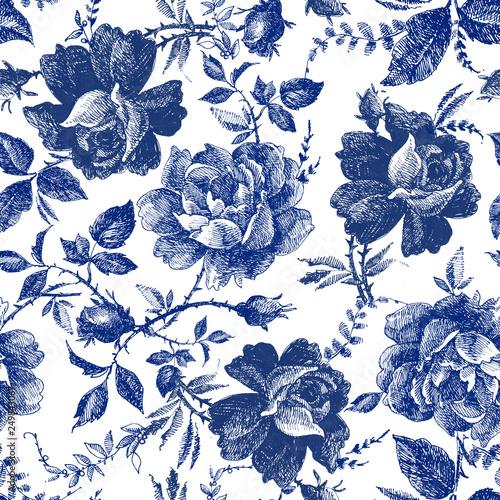 bez-szwu-z-kwiatami-roz-bajkowy-las-recznie-rysowane-grafiki-botanicznej-wzor-linii-vintage-modny-wzor-tkaniny-w-kolorze-indygo-i