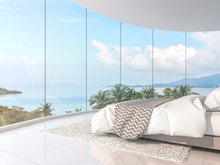 Panorama View Bedroom 3d Render,There Are Curve Room With White Floor,Furnished With White Bed,There Are Large Framless Bay Window Overlooking To Sea View.