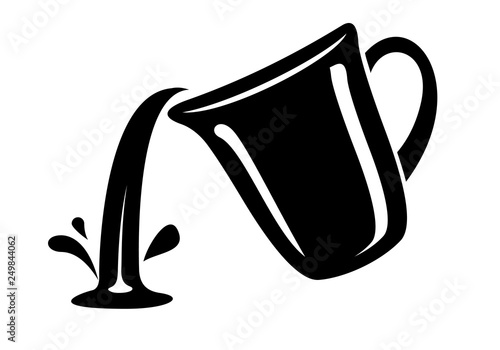 Jug pour out milk or water canister. Simple logo. Canvas Print