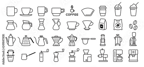 Barista and Coffee Lovers Icon Set (Thin Line Version) Canvas Print