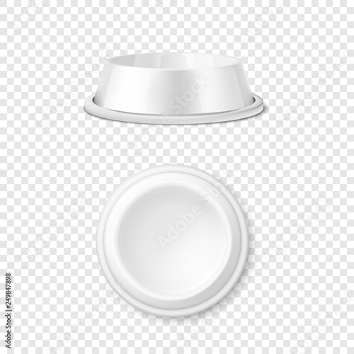 Vector Realistic White Blank Plastic or Metal Pet Bowl Icon Set, Mock-up Closeup Isolated on Transparent Background. Design Template of Bowl for Pet, Cat, Animal Food for Mockup. Front and Top View Wall mural
