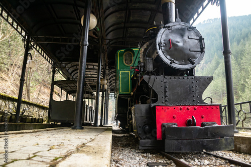 Old small steam locomotive in the train station. Sarganska Osmica railway in Bele Vode - Mokra gora, Serbia. © Milan