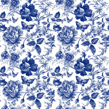Seamless Design With Roses Flowers. Fairytale Forest. Hand Drawn Vintage Botanical Pattern Line Graphics. Fashion Textile Design Indigo Color. Floral Illustration