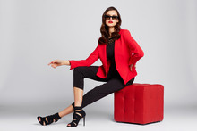Fashion Young Woman In Red Jac...