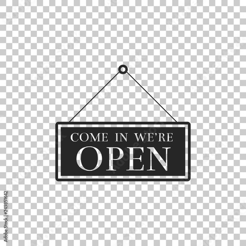 Fotografia, Obraz  Hanging sign with text Come in we're open icon isolated on transparent background