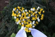 Herz Aus Blumen Auf Dem Friedhof Im Frühling