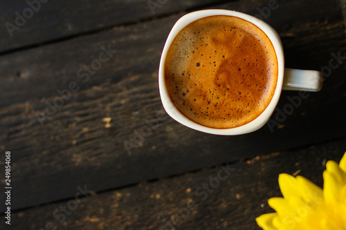 Wall Murals Cafe cup of hot coffee (coffee beans) - arabica and robusta blend, roasted coffee grain. Black background. Top view. Copy space