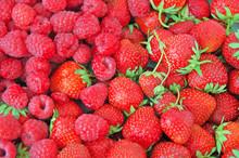 Strawberries And Raspberries Background