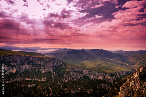 Fotobehang Aubergine landscape sunset in valleys