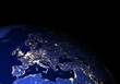 The Earth from space at night. Europe. Elements of this image furnished by NASA.