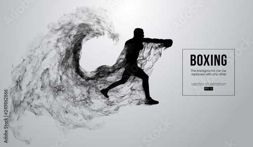 Abstract silhouette of a boxer, mma, ufc fighter on the white background from particles, dust, smoke, steam Canvas Print