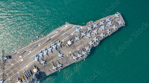 Navy Nuclear Aircraft carrier, Military navy ship carrier full loading fighter jet aircraft, Aerial view Canvas Print