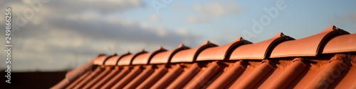 Leinwand Poster glänzend rote Dachziegel Pfanne vom Dachdecker Handwerker im Sonnenschein vor du