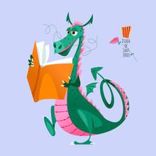 Dragon Walks And Reeds A Big  Book. Diada De Sant Jordi (the Saint George's Day). Traditional Festival In Catalonia, Spain.