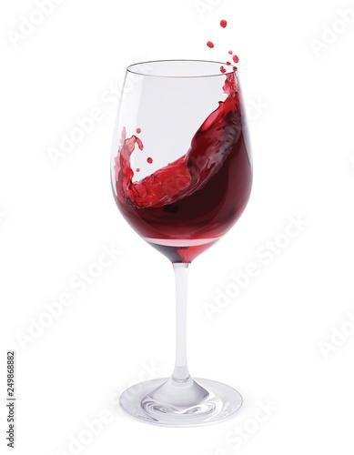 Red Wine Splashing In Glasses isolated on white. Realistic vector 3d illustration Fototapete