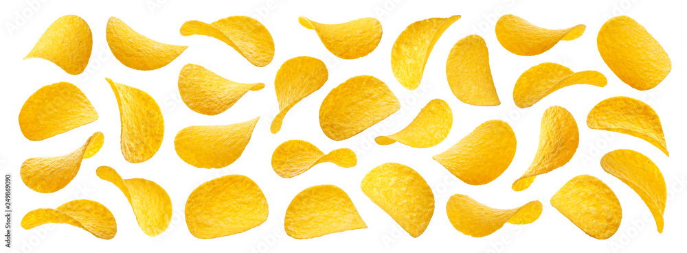 Fototapeta Potato chips isolated on white background, collection