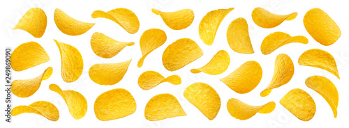 Fotografia Potato chips isolated on white background, collection