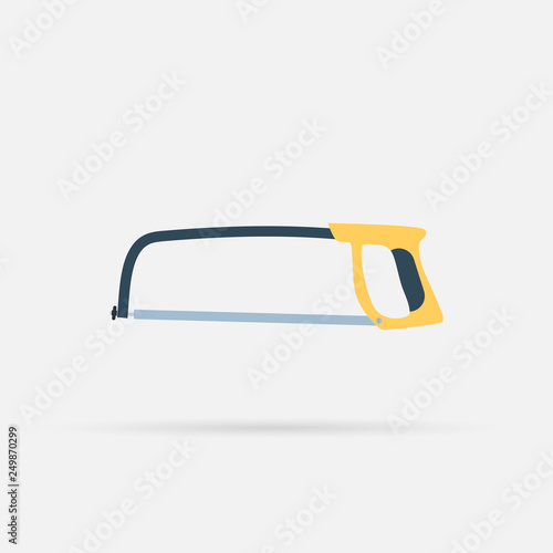 Fotografie, Obraz  vector flat icon of a hacksaw on metal with Long shadow, eps10