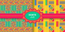 Set Of Tribal Seamless Patterns. Cloth Kente.