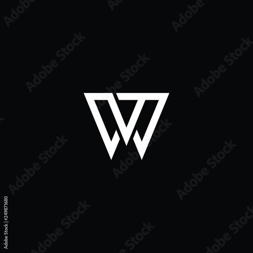 Photo  Outstanding professional elegant trendy awesome artistic black and white color WW WV VW initial based Alphabet icon logo