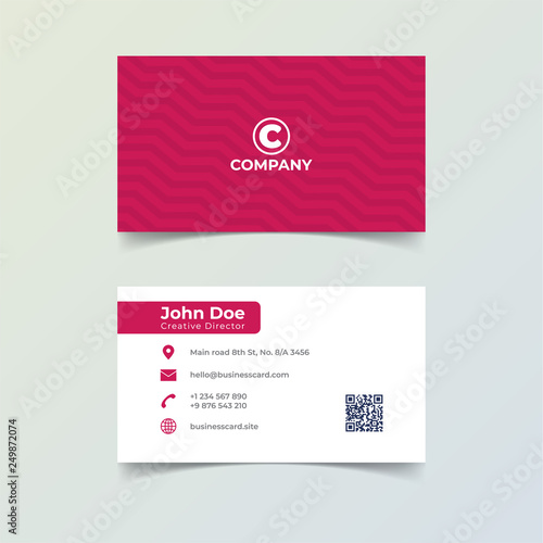 Red Color Business Card Print Template Personal Name Card With