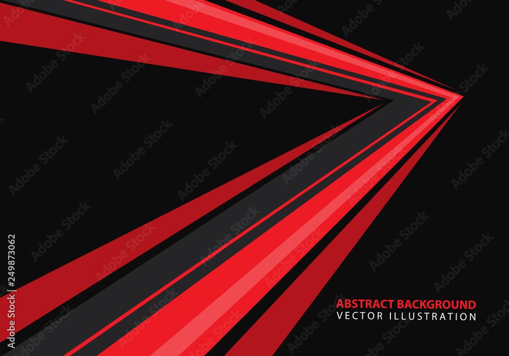 Fototapeta Abstract red speed arrow direction on black design modern futuristic background vector illustration.