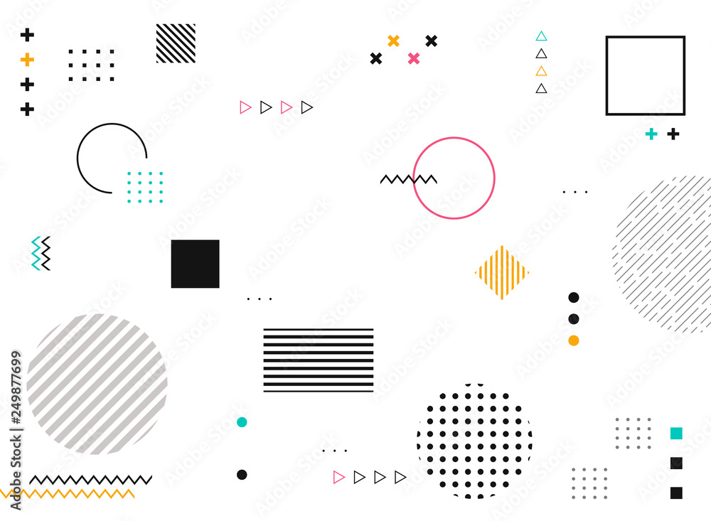 Fototapeta Abstract geometric shapes of colorful modern pattern background.