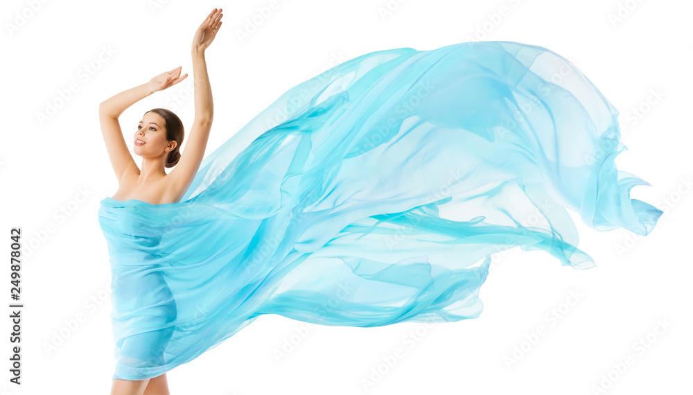 Fototapety, obrazy: Woman Body Beauty Flying Blue Cloth, Fashion Model in Long Waving Dress, Girl in Fluttering Fabric over White Background