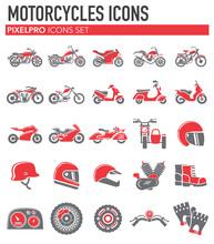 Motorcycle Icons Set On White ...