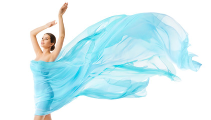 Woman Body Beauty Flying Blue Cloth, Fashion Model in Long Waving Dress, Girl in Fluttering Fabric over White Background