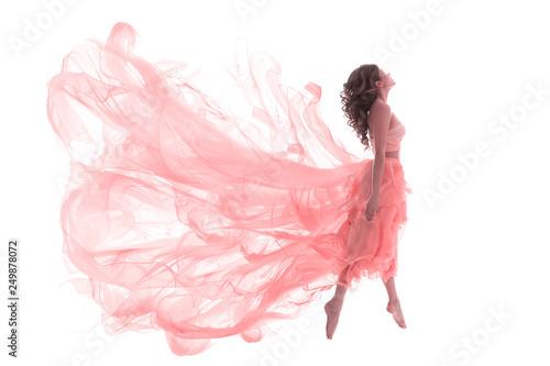 Fotografie, Obraz  Woman in Fashion Pink Dress, Ballet Dancer Girl in Jump Flying in Dance over Whi