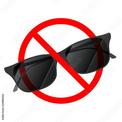 Fotografía  Sunglasses not allowed, red forbidden sign on white
