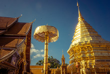 Wat Pra Thad Doi Suthep Temple In Chiangmai Thailand, The Most Famous Temple At Twilight