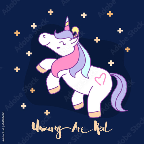 Deurstickers Babykamer Little funny unicorn cartoon character illustration design. Vector illustration
